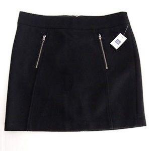 NWT Gap Mini Skirt Exposed Zippers Wool Blend Moto